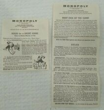 Monopoly Instructions 1961 Parker Brothers Vintage Replacement Piece Part Craft