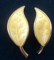 Norwegian Silver & Lemon Yellow Enamel Leaf Earrings - David Andersen Norway