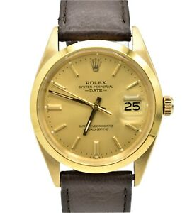 Vintage 18k Rolex Date 1500 Yellow Gold Leather Band Automatic Mens Watch