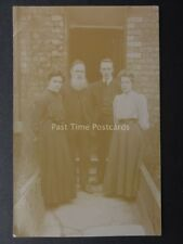 Portrait of Family on Path to House Door - Old RP Postcard