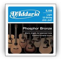 D'Addario EJ38 12-String Phosphor Bronze Light Acoustic Guitar Strings .010-.047