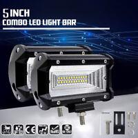 2X 72W LED Work Flood Square Spot Light 12V 24V Off Road Truck 4x4 Boat SUV Lamp