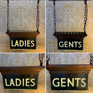 Rare Antique Pair Art Deco Illuminated Copper & Glass Ladies Gents Toilet Signs
