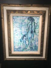 Mid Century Modern Art Painting Naked Lady And Child By Ruth Haas 64