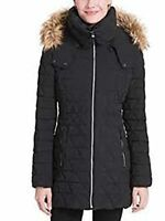 Marc New York Triangle Quilt Coat with Faux Fur