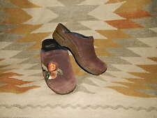 Dansko Size 37 US 6.5/7 - Brown Suede Clog Shoes w Embroidered Flower Accent