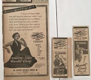3 1951 newspaper ads for movie Harriet Craig - Joan Crawford, what was her lie