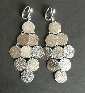 LONG BRIGHT SILVERY SHIMMER CASCADES  CLIP ON EARRINGS (hook options)