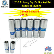 "6PC 1/2"" Drive Metric German Standard Deep Socket Set 15-20mm CRV GS Dr. Sockets"