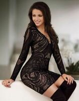 New Lipsy Michelle Keegan Black Lace Plunge Criss Cross Front Bodycon Dress