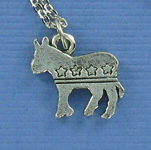 Democrat Donkey Necklace - Pewter Charm on Chain Political Party Left USA NEW