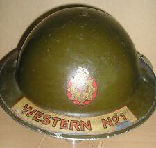 WW-II British Home Front Fireman's MK-II Brodie Steel Helmet & Chinstrap 1939