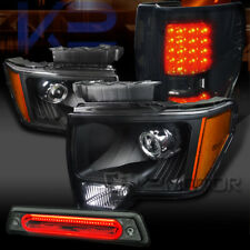 09-14 F150 Black Projector Headlights+Smoke LED Tail Lamps+Smoke LED 3rd Brake
