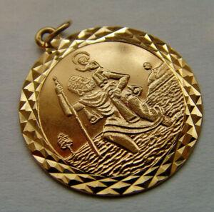 9ct Gold St Christopher Pendant 27mm Length Hallmarked Possibly Georg Jensen