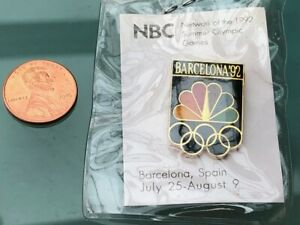 RARE NBC 1992 BARCELONA SPAIN SUMMER OLYMPICS LOGO OFFICIAL PIN ORIGINAL PACKING