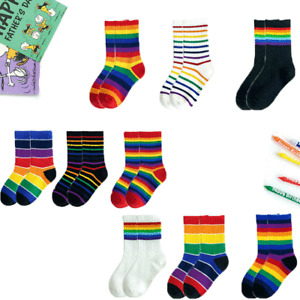 3 Pairs Christmas Socks Novelty Funny Rainbow Colors Sneaker Socks Xmas Gifts
