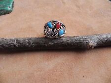 Turquoise, Carnelian & Sterling Silver wide band Ring sz 9 Wheeler Manufacturing