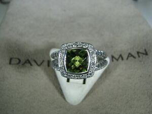 DAVID YURMAN AUTHENTIC ALBION 7MM PERIDOT PAVE DIAMOND RING SIZE 6 D.Y. POUCH