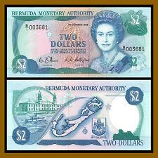Bermuda 2 Dollars, 1988 P-34a (4 Digit Serial #003681) Queen Elisabeth II Unc