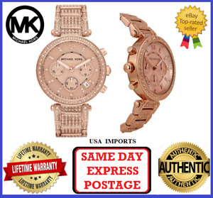 Michael Kors MK5663 Parker Rose Gold and Crystal Chronograph Womens Wrist Watch
