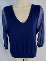 Sweet Pea Womens M Navy Blue Sheer 3/4 Sleeve Pull Over Stretch Top Shirt CB28Y