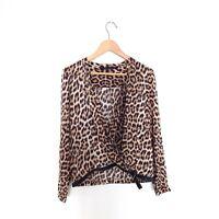 Zara Woman Size S Leopard Print Long Sleeve Wrap Top