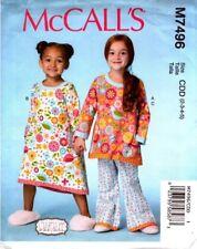 McCalls Sewing Pattern 7496 M7496 Childrens/ Girls Tops Dress Pants PJs size 2-5