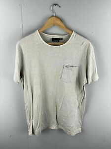 Ripcurl Men's Short Sleeve T Shirt with Front Pocket - Size Small - Beige Stripe