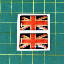 2x Union Jack Domed Stickers - 25mm x 15mm- High Gloss Raised Finish - Vintage
