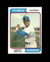 Manny Mota Hand Signed 1974 Topps Los Angeles Dodgers Autograph