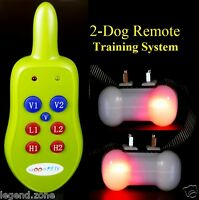 Rechargeable Remote 2 Dog Trainer Shock Vibration No Bark Pet Training Collar