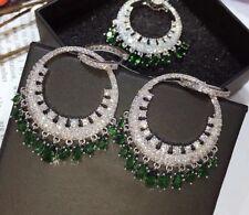 14k White Gold Chandelier Earrings made w/ Swarovski Crystal Emerald Green Stone