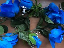 """2"" Silk Rose Garlands ""Vibrant Royal Blue"" 5Ft Wedding/Shower Decor *Gorgeous*"