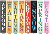 """Joanie 40"""" Stencil Vertical Holida Fall Welcome Snow Christmas Autumn Porch Sign"""