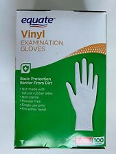Equate Vinyl Examination Gloves ( 100 gloves ) L / XL Fits either hand protect