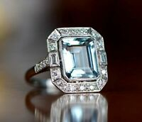 2 Ct Emerald Aquamarine Diamond Halo Engagement Vintage Ring 14K White Gold Over