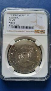 1914 GRO MEXICO Guerrero 2 Peso Silver Coin NGC AU-55