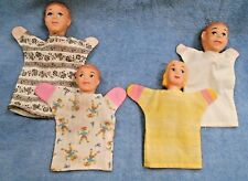 Vintage Hazelle hand puppets family of four lot set of 4 man woman girl and boy