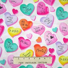 Valentine's Day Fabric - Love Notes Pastel Hearts White - Benartex Kanvas 30""