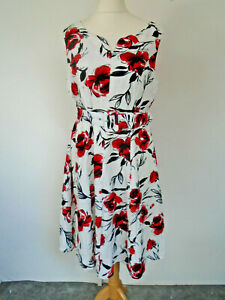 Kaleidoscope Dress 14 Lined Red Floral Belt Holiday Weekend Smart