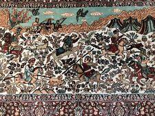 Wandteppich Perserteppich Isfahan Hereke Jagdmotiv Reiter Tiere Seide 1 Mio. Kn.