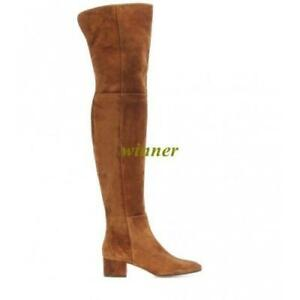 Womens Faux Suede leather Over The Knee Boots High Heel Block Formal Party Shoes