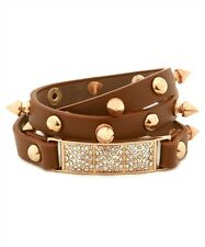 Brown Rhinestone Stud Wrap Around Bracelet