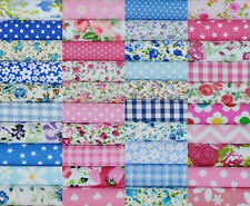 50 X 4 INCH PATCHWORK FABRIC SQUARES SAMPLES SEWING CRAFT MATERIAL BLUE & PINK