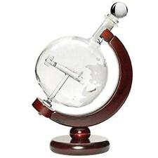 50 Oz Vodka or Liquor Etched Globe Decanter Set with Wooden Stand and Bar Funnel