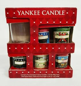 YANKEE CANDLE 5 Samplers Votive Candles & Glass Votive Holder CHRISTMAS HOLIDAY