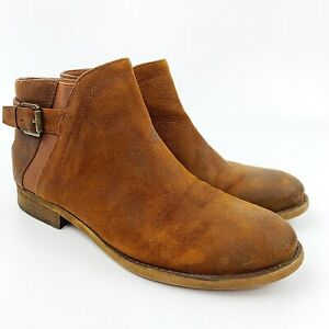FRANCO SARTO Womens Kennedy Brown Leather Suede Ankle Boot Bootie Buckle Sz 7 M