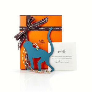 Hermes Petit H Bi-Color Blue Monkey Charm