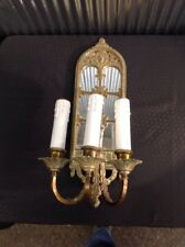 Antique RENAISIANCE Art Deco TRIPLE Wall Sconce Gothic Light Fixture Mirror NICE