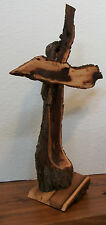 """GNARLED TREE"" Wooden STANDING CROSS-15"" x 11""--Rustic Elm Live Edge Wood--USA"